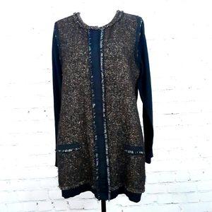 ELIE TAHARI Black Tweed Front Cardigan Sweater XL
